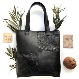 """Женская классическая кожаная сумка  """"Кокос"""" (черная)"""