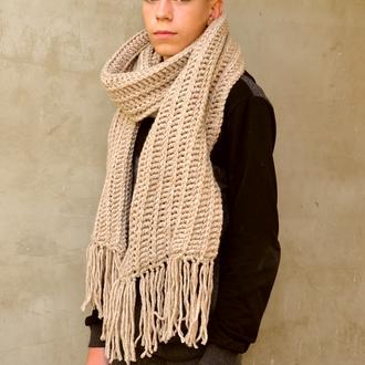 Длинный  вязаный зимний шарф.Шарф унисекс. Мужской шарф.Женский шарф.