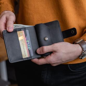 Компактный кожаный мужской кошелек