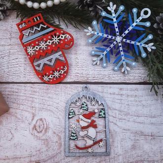Подарочный набор новогодних деревянных игрушек №8