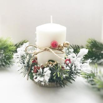 Новорічний підсвічник зі свічкою. Новогодний подсвечник со свечой. Рождественский подсвечник со свеч