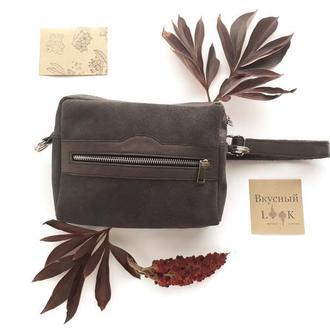 """Кожаная поясная сумка для женщин """"Кориандр"""" (серая, замшевая)"""