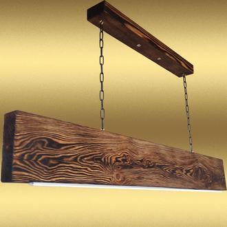 Светодиодная люстра подвесная из дерева и металла ручной работы. Модель PL0102