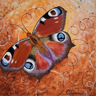 Бабочка Павлиний глаз. Картина маслом на холсте, 30х30 см