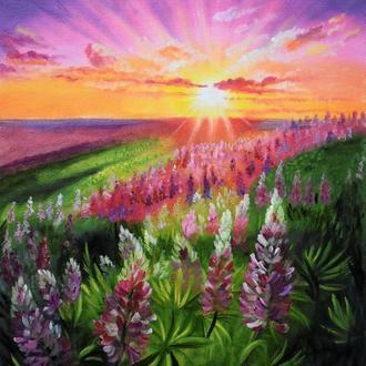 Цветочный луг на закате. Картина малом на холсте 40х50 см.