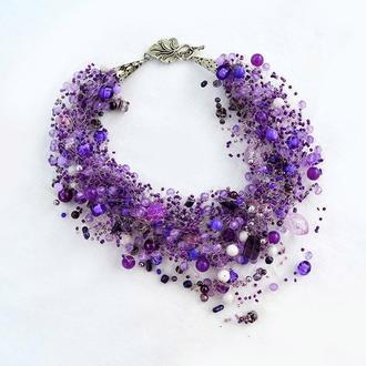 Фиолетовое колье (воздушка) Подарок женщине