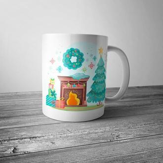 """Новогодняя чашка с принтом """"Праздничный камин"""""""