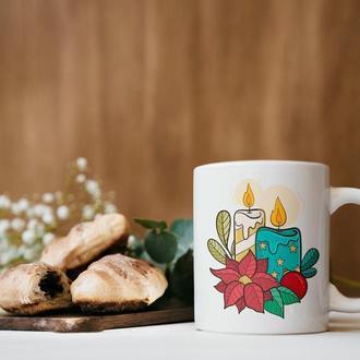 """Новогодняя чашка с принтом """"Свечки"""""""
