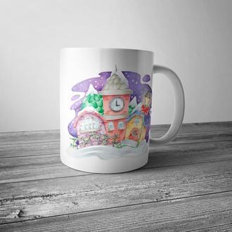"""Новогодняя чашка с принтом """"Акварельные домики"""""""