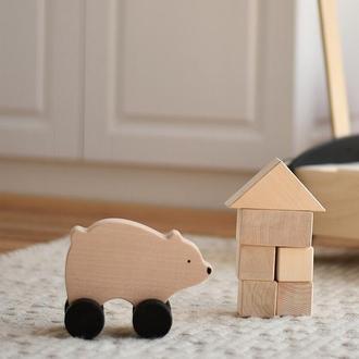 Деревянная детская игрушка каталка Мишка