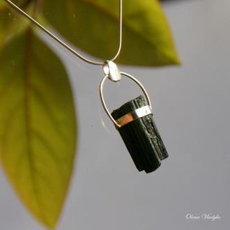 Серебряный кулон с шерлом, серебряный кулон с камнями, подвеска с камнями