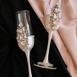 Фужеры на свадьбу  с декором серебряного цвета Версаль