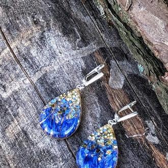 Голубые серьги с живыми цветами, деревянные, из эпоксидной смолы и дерева, подарок для девушек