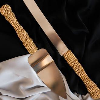 Набор приборов для свадебного торта в золотом цвете Бриллиантовые переливы