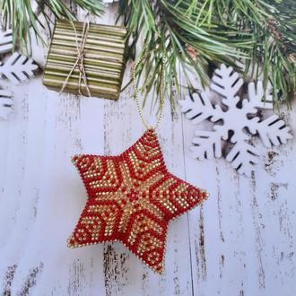 Новогодние игрушки Звезда Снежинка из бисера