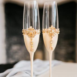 Свадебные бокалы в цвете айвори Золотой цветок