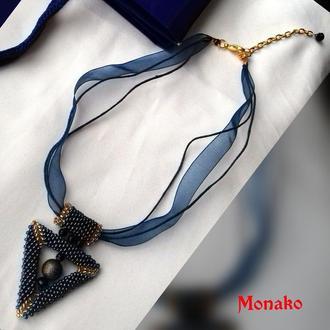 """Ожерелье-чокер  """"GABRIEL′ в стиле геометрия с черным агатом"""