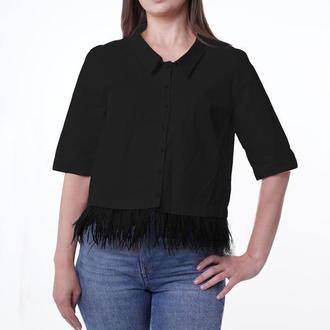 Блуза укороченная с перьями