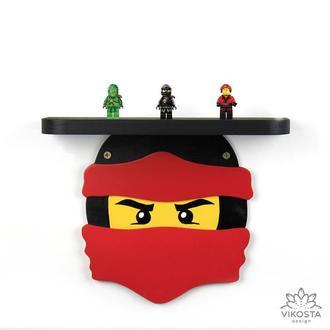 Детская деревянная полка Кай, Лего Ниндзяго, полка для игрушек, деревянный декор для детской
