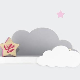 Детская деревянная полка Облако, полка-облако, полка для игрушек, декор для детской