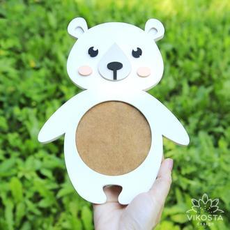 Детская фоторамка Белый медведь, деревянная фоторамка, настенная рамка для фото.