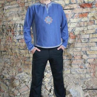 Рубашка льняная мужская с обережным символом Сварожич