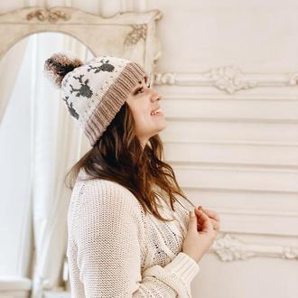 Вязаная шапка с оленями «Гаспар»