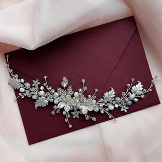 Свадебное украшение для волос, веточка в прическу, украшение в прическу, веточка в волосы, ободок