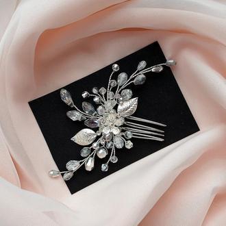 Свадебное украшение для волос, заколка в прическу, гребень,  украшение в прическу, свадебная заколка