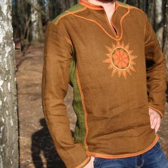 мужская льняная рубаха Алатырь