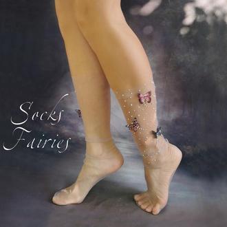 Носочки с шелковыми розовыми бабочками из фатина/Socks Fairies/носки сетка