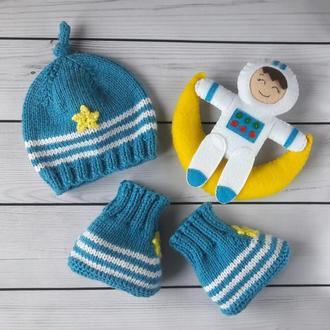"""Подарочный набор """"Космонавт"""" - шапочка, пинетки, игрушка"""