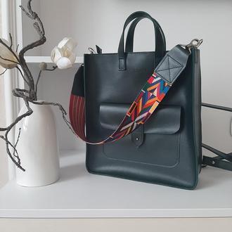Шопер рюкзак Flagman зеленый Klasni, натуральная кожа, сумка рюкзак