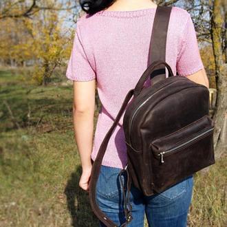 Женский кожаный рюкзак Meinbag (Темно-коричневый)