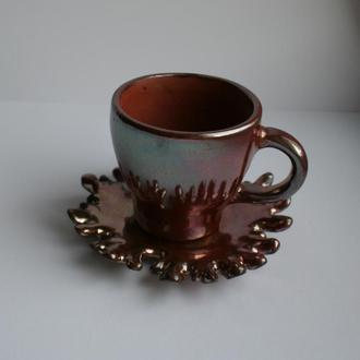 Чашка с блюдцем для кофе, звонок. Чашка ручной работы для эспрессо.