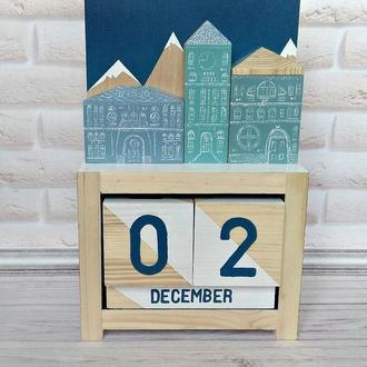 Настольный вечный календарь с домиками в скандинавском стиле