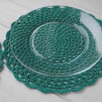 Набор подставок под горячее / под тарелку / набор салфеток цвета мелиссы вязаных крючком