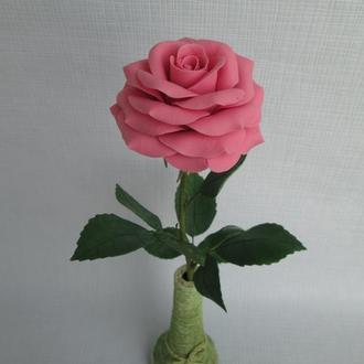 Розовая роза из холодного фарфора