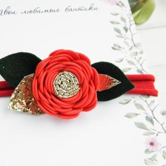 Новогодняя повязка с красным цветком для девочки, Подарок для малышки