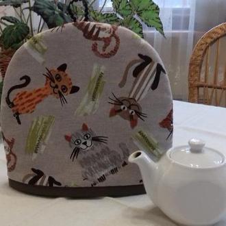 """Грелка для чайника """"Озорные коты"""" мини коричневые"""