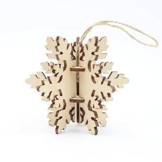 Деревянная ёлочная игрушка - SNOWFLAKE