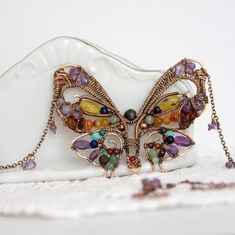 """Кулон """"Бабочка"""" в мозаичной технике из натуральных камней и меди"""