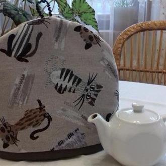 """Грелка для чайника """"Озорные коты"""" мини серые"""