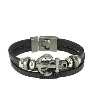 Черный кожаный мужской браслет SM18-019A