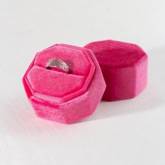 Бархатная коробочка для кольца (цвет Diva Pink)