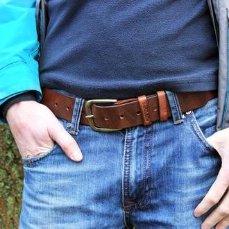 """Ремень мужской кожаный """"ZigZag"""" Кожаный ремень ручной работы студии Smith&Co. Джинсовый ремень"""