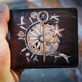 Кожаный кошелек штурвал, серый кошелек,мужское портмоне, мужской бумажник, подарок мужчине