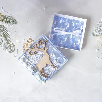 Коробочка для грошей, новорічна листівка, подарункова коробочка