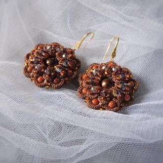 Кружевные серьги фриволите с жемчугом , круглые серьги , свадебные украшения