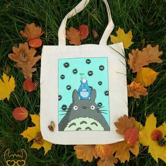эко сумка, шоппер из хлопка с росписью Мой сосед Тоторо, Totoro